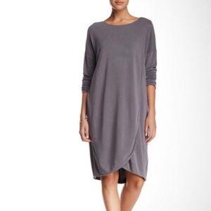 Everleigh Long Sleeve Drape Front Cupro Dress